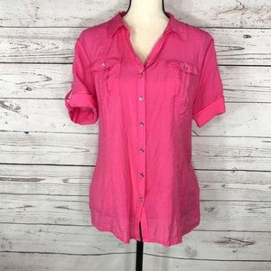 Roz & Ali Top Short Sleeve Button Front V-Neck
